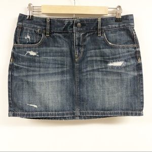 LOFT Distressed Mini Jean Skirt